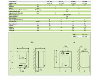 DRAŽICE BTO 10l IN zásobníkový ohřívač beztlakový spodní