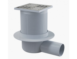 ALCA PLAST APV1 Podlahová vpust 105x105/50 mm boční, mřížka nerez, vodní zápachová uzávěra