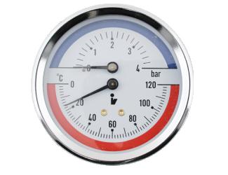 """Steno Termomanometr 0-4bar, 0-120°C,1/2"""" zadní vývod"""