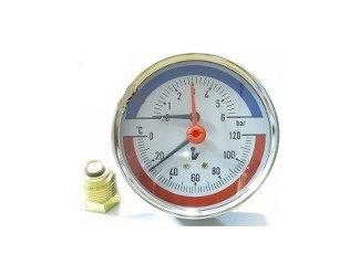 """Steno Termomanometr 0-6bar, 0-120°C,1/2"""" zadní vývod"""