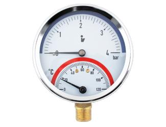 """Steno Termomanometr 0-6bar, 0-120°C,1/2"""" spodní vývod"""